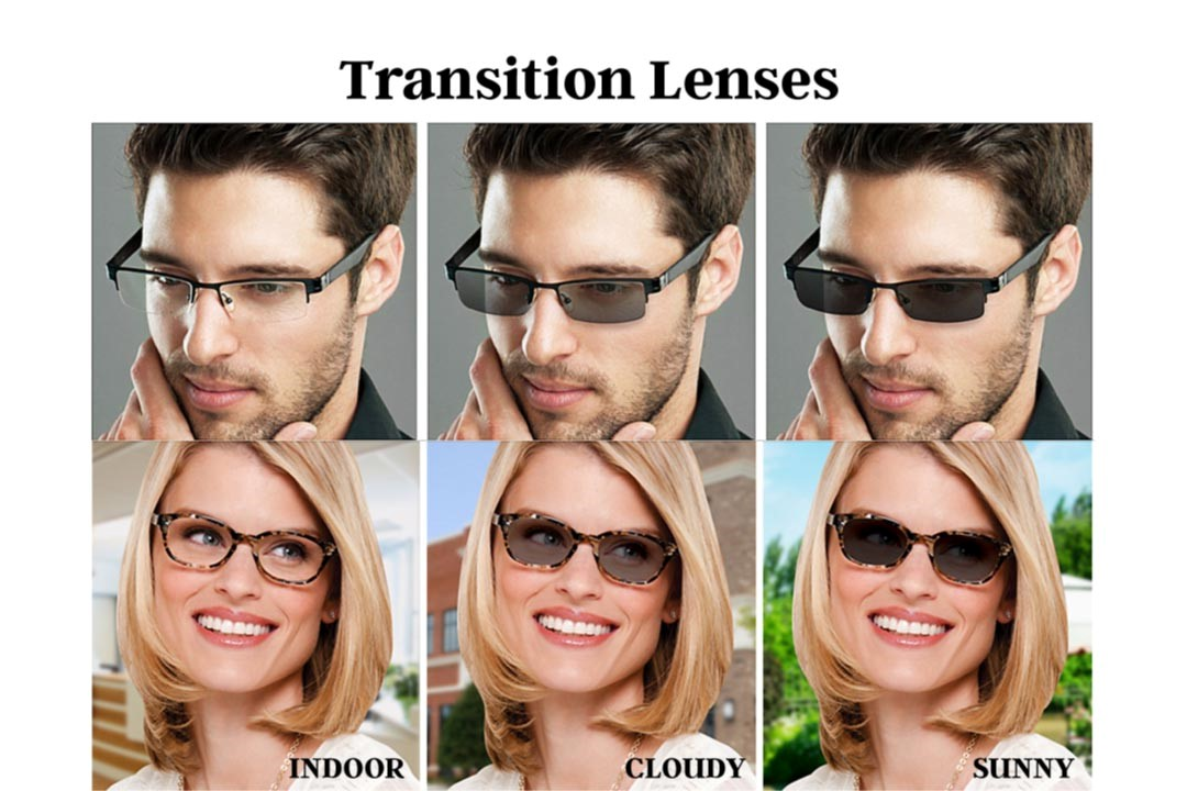 Transitions 8 tint shown in glasses as the wearer is in different light environments